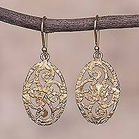 Gold plated sterling silver dangle earrings, 'Golden Swirls' - Oval Gold Plated Sterling Silver Dangle Earrings from Peru