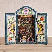 Wood retablo, 'Shamans' - Handcrafted Retablo Diorama of Peruvian Shamans