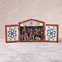 Mohena wood retablo, 'Vigil in the Cemetery' - Cemetery for Day of the Dead Handcrafted Retablo Diorama
