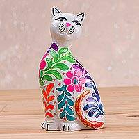 Ceramic figurine, 'Sweet Cat in White' - Ceramic Figurine of a Floral White Cat from Peru