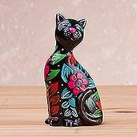 Ceramic sculpture, 'Sweet Cat in Black' - Ceramic Sculpture of a Floral Black Cat from Peru