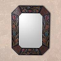 Leather mirror, 'Reflections of Tulips' - Handcrafted Floral Colonial Leather Mirror from Peru