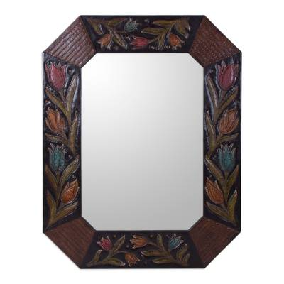 Handcrafted Floral Colonial Leather Mirror from Peru