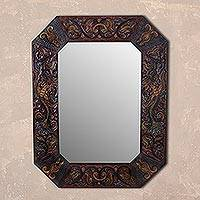 Leather wall mirror, 'Colonial Dream' - Handcrafted Bird Motif Colonial Leather Mirror from Peru