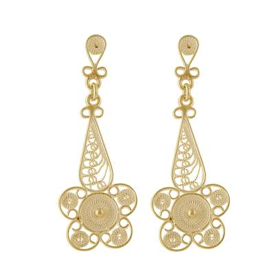 Floral Gold Plated Silver Filigree Earrings from Peru