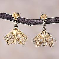 Gold plated sterling silver filigree dangle earrings, 'Golden Butterfly Wings' - Gold Plated Sterling Silver Filigree Earrings from Peru