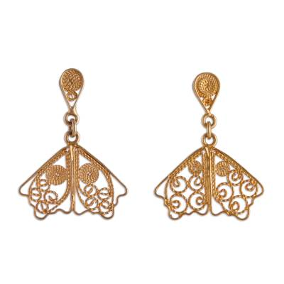 Gold Plated Sterling Silver Filigree Earrings from Peru
