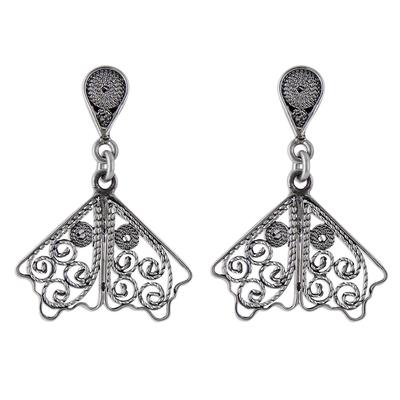 Sterling Silver Filigree Dangle Earrings from Peru