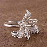 Sterling silver filigree cocktail ring, 'Petal Infinity' - Floral Sterling Silver Filigree Cocktail Ring from Peru