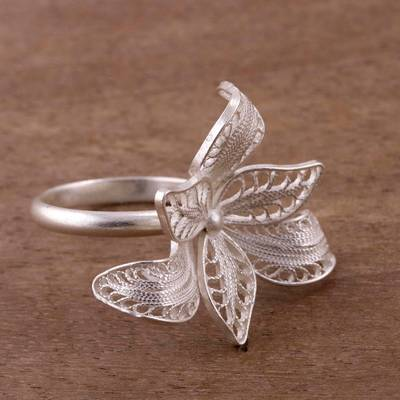 Floral Sterling Silver Filigree Cocktail Ring from Peru
