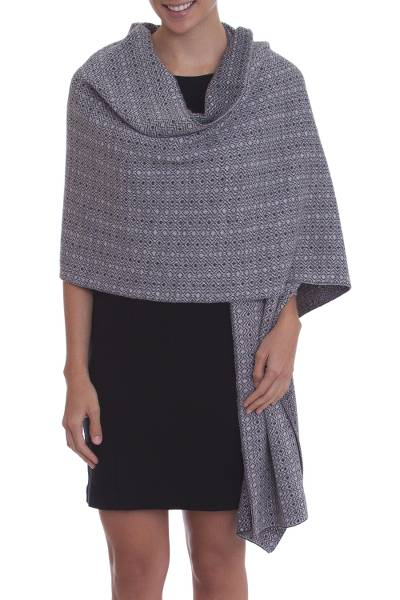 Alpaca blend reversible shawl, 'Dream of Huancayo in Grey' - Grey Alpaca Blend Knit Shawl with Geometric Diamond Motif