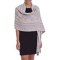 Alpaca blend reversible shawl, 'Cultural Elegance' - Grey and Ivory Alpaca Blend Knit Shawl with Ancient Symbols