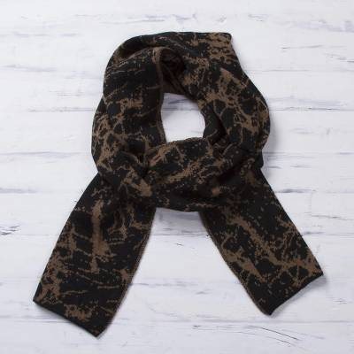 Alpaca blend reversible scarf, 'Marbled Beauty' - Reversible Variegated Brown and Black Alpaca Blend Scarf