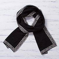Alpaca blend reversible scarf, 'Incan Inspiration' - Reversible Ivory and Black Alpaca Blend Knit Scarf from Peru
