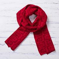 Reversible alpaca blend scarf, 'Red Paracas Shadows' - Alpaca Blend Crimson and Cinnabar Reversible Scarf