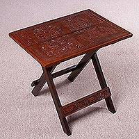 Mohena wood and leather folding table, 'Andean Guardians' - Handmade Mohena Wood and Leather Folding Table from Peru