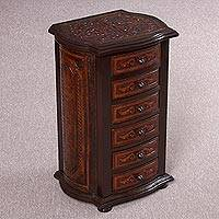Mohena wood and leather accent table, 'Colonial Majesty' - Handcrafted Mohena Wood and Leather Accent Table from Peru