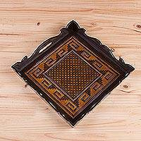 Leather tray, 'Colonial Fortress' - Handcrafted Geometric Leather Tray from Peru