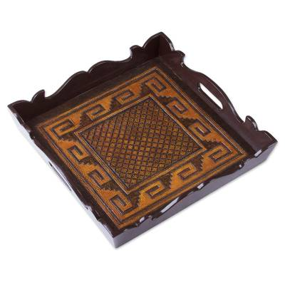 Handcrafted Geometric Leather Tray from Peru