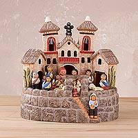 Ceramic sculpture, 'Village Cathedral' - Ceramic Nativity Scene Church Sculpture from Peru