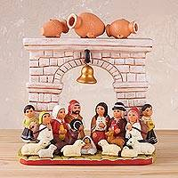 Ceramic sculpture, 'Archway Child' - Hand-Painted Ceramic Nativity Scene Sculpture from Peru