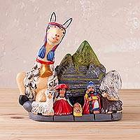 Ceramic nativity sculpture, 'Child of Machu Picchu' - Andean Ceramic Nativity Scene Sculpture from Peru