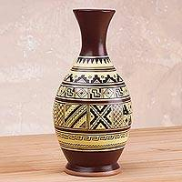 Decorative ceramic Cuzco vase, 'Inca Inspiration' - Decorative Ceramic Cream and Brown Inca Inspired Motif Vase