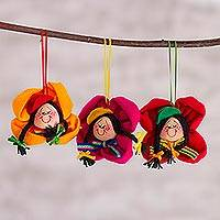 Handcrafted ornaments, 'Flowering Andes' (set of 3) - Handcrafted Ornaments (Set of 3) from Peru