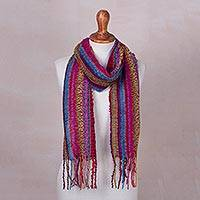 Baby alpaca blend scarf, 'Draped with Color' - Baby Alpaca Blend Hand Woven Colorful Striped Scarf
