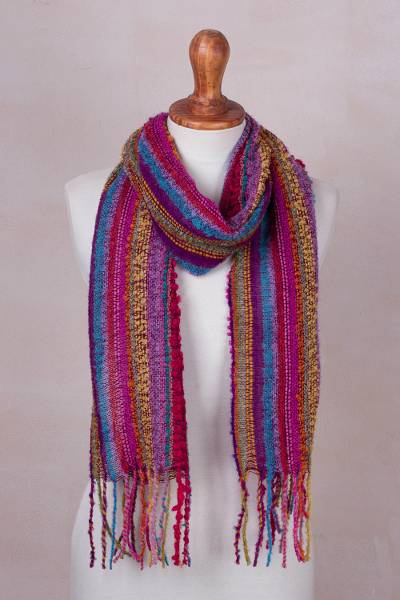 Baby alpaca blend scarf, Draped with Color