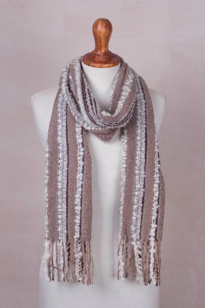 Baby alpaca blend scarf, 'New Lands' - Baby Alpaca Blend Hand Woven Earth-Tones Striped Scarf