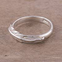 Sterling silver band ring, 'Suave Feather' - Sterling Silver Feather Band Ring from Peru
