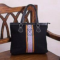 Wool handbag, 'Black Empress' - Handwoven Striped Wool Handbag in Black from Peru