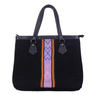 Handwoven Striped Wool Handbag in Black from Peru
