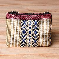 Cotton coin purse, 'Andean Stripes' - Handwoven Striped Cotton Coin Purse from Peru