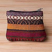 Cotton coin purse, 'Andean Festival' - Handwoven Cotton Coin Purse with Stripes from Peru
