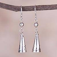 Sterling silver dangle earrings, 'Ethnic Cones' - Cone-Shaped Sterling Silver Dangle Earrings from Peru