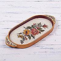 Reverse painted glass tray, 'Regal Bouquet' - Handmade Reverse Painted Glass Tray from Peru
