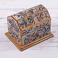 Reverse-painted glass decorative box, 'Chest of Memories' - Bird-Themed Floral Reverse-Painted Glass Box from Peru
