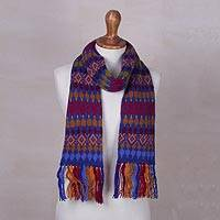 Knit scarf, 'Andean Fortress in Royal' - Blue and Multi-Color Geometric Pattern Knit Fringed Scarf
