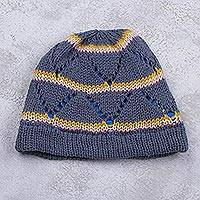 Knit hat, 'Blue Andes Hills' - Lined Knitted Striped Watch Cap Hat in Blue Spruce Shades