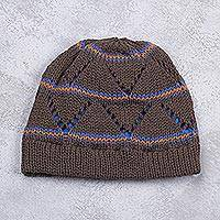 Knit hat, 'Terracotta Andes Hills' - Peru Knitted Striped Watch Cap Hat in Terracotta Brown