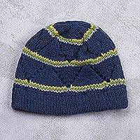 Knit hat, 'Pacific Blue Andes Hills' - Blue Knitted Watch Cap Hat With Stripes and Open Work