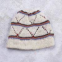 Knit hat, 'Ivory Andes Hills' - Ivory Acrylic Lined Knitted Hat with Stripes and Openwork