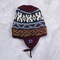 Knit chullo hat, 'Pattern Party' - Brown Multi-Color Geometric Knit Chullo Hat with Earflaps