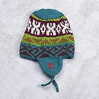 Knit chullo hat, 'Geometric Green' - Green Multi-Color Geometric Knit Chullo Hat with Earflaps