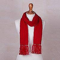 Cable knit scarf, 'Soft Winter Red' - Andean Red Acrylic Cable Knit Scarf for Men or Women