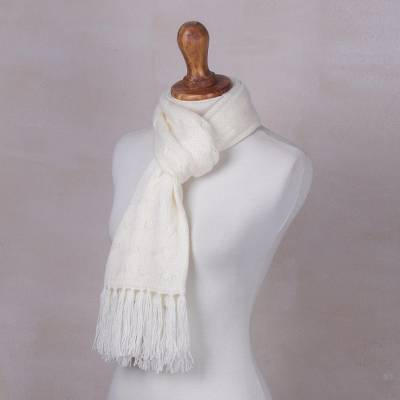 Cable knit scarf, 'Soft Winter White' - White Unisex Acrylic Cable Knit Scarf from Peru