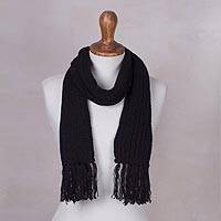 Rib knit scarf, 'Black Andean Textures' - Andean Unisex Black Acrylic Rib Knit Scarf
