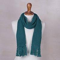 Rib knit scarf, 'Teal Andean Textures' - Teal Green Rib Knit Peruvian Scarf in Acrylic